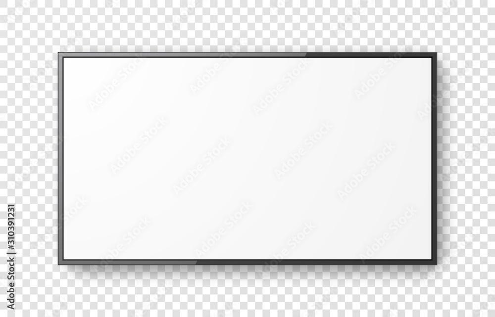 Fototapeta Realistic television screen on transparent background. Mockup of computer monitor display. 3d TV led monitor. Vector illustration