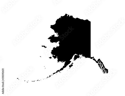 Photo Vector isolated simplified illustration icon with black silhouette of Alaska map - state of the USA