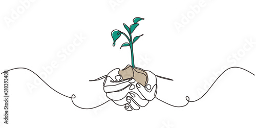 Obraz Continuous one line drawing of plant in hand. Hands holding nature sign and symbol vector illustration. Minimalism design and simplicity sketch hand drawn. - fototapety do salonu