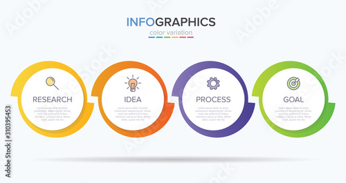 Cuadros en Lienzo Infographic design with icons and 4 options or steps