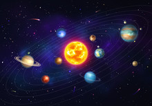Colorful Solar System With Nine Planets Which Orbit Sun. Galaxy Discovery And Exploration. Realistic Planetary System With Satellites In Deep Space Vector Illustration. Astronomy Science Banner.