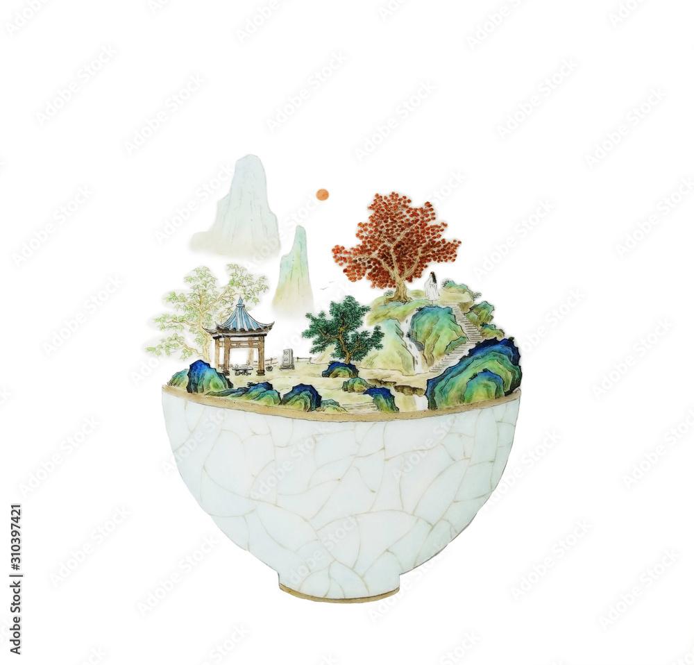 Chinese painting, landscape, tea bowl, porcelain, boiled tea, ancient, tradition, custom, folk custom, Chinese style, Chinese painting, culture, humanities, tea ceremony, cultivation, practice, health