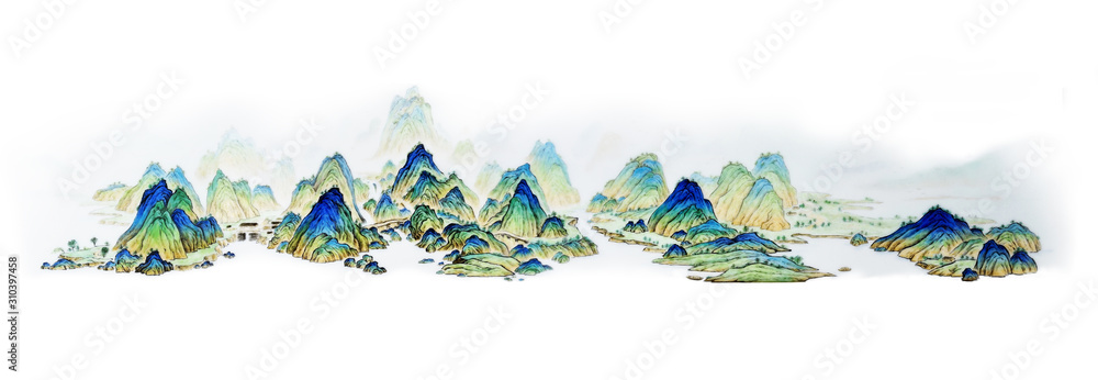 Chinese painting, landscape, landscape painting, mountain range, mountain, brewing tea, ancient, tradition, custom, folk, Chinese style, Chinese painting, culture, humanities, tea ceremony, cultivatio