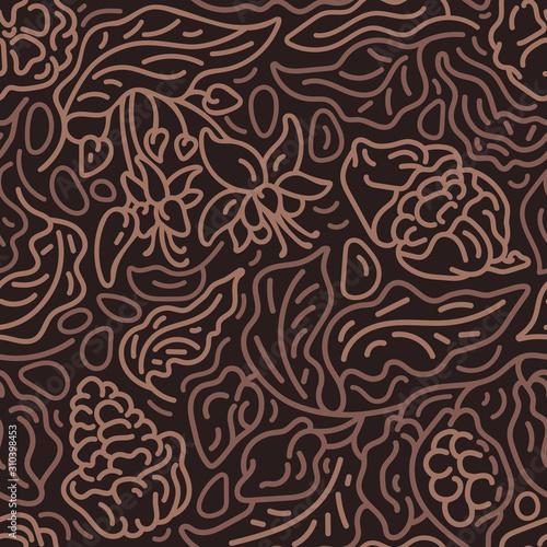 fototapeta na lodówkę Cocoa nature background. Vector seamless pattern.