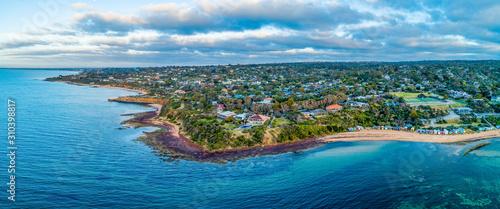 Aerial panoramic landscape of scenic coastline near Mount Eliza suburb in Melbourne, Australia