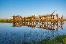 Destroyed Wooden Bridge Over A...