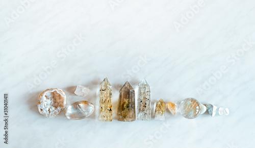Obraz na plátne Set gemstones crystal minerals for relaxation and meditation
