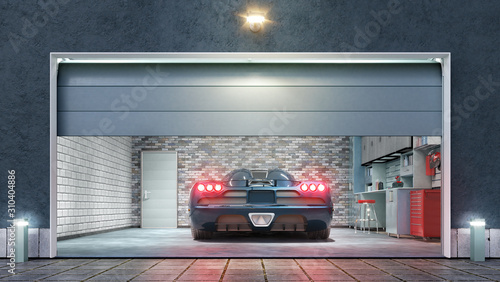 Fotografie, Obraz Modern garage with open gate. 3d illustration