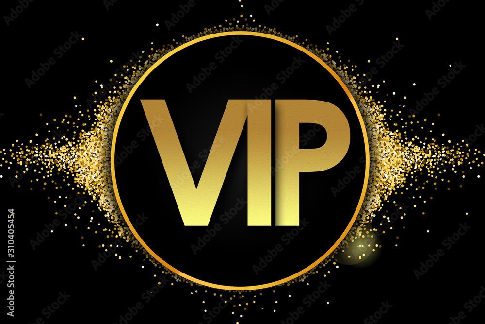 Fototapeta vip in golden circle stars and black background