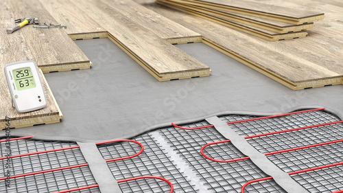 Obraz Laying parquet boards on electrical underfloor heating, 3d illustration - fototapety do salonu