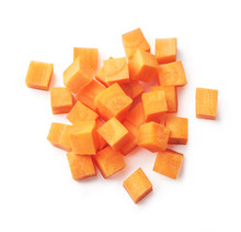 Diced Carrots On A White Background