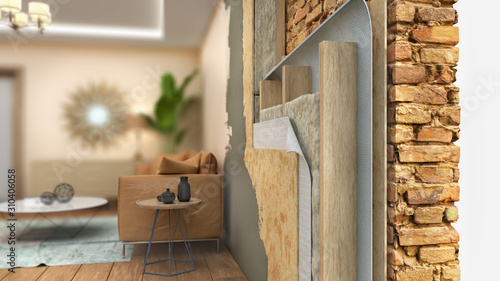 Obraz Interior wall thermal insulating, 3d illustration - fototapety do salonu