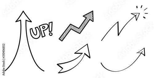 上昇の矢印 手描き セット Canvas Print