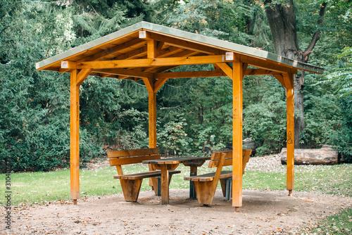 Covered seating area Obraz na płótnie