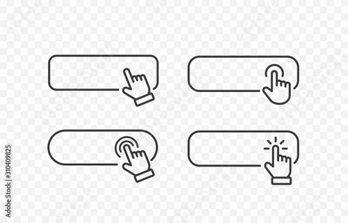 Obraz Click cursor blank button icon isolated on transparent background. Vector hand pointer clicking banner. . - fototapety do salonu