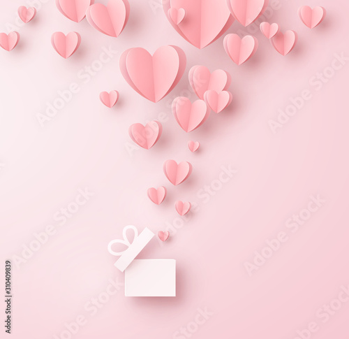 Obraz Hearts with gift box postcard. Paper flying elements on pink background. Vector symbols of love for Happy Women's, Mother's, Valentine's Day, birthday greeting card design. - fototapety do salonu