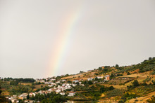 European Natural Countryside And Rainbow