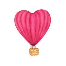 Watercolor Pink Red Hot Air Ba...