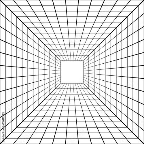 Fototapeta tunel  3d-perspektywy-tunelu-siatki-wektor-perspektywy-kwadratowej-siatki