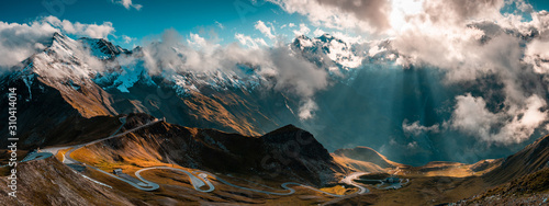 Panoramic Image of Grossglockner Alpine Road. Curvy Winding Road in Alps.