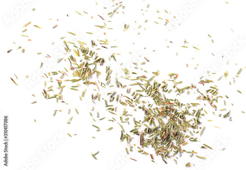 Cuadros en Lienzo Dry thyme pile isolated on white background, top view