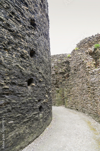 Detail of Inside a motte and bailey Castle in Cornwall Canvas Print