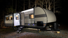 Camper Trailer At A Late Fall Campsite