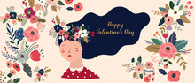 Valentines Day Greetings Illustrations, Posters, Cards. Set Of Valentines Day Cards. Vector Illustration Of Girl In Love. Flyer, Card, Banner, Brochure