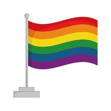 Rainbow Pride Flag Isolated On White Background Vector Illustration