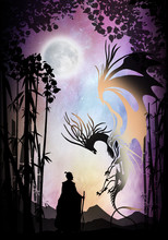 Samurai And Dragon Silhouette ...
