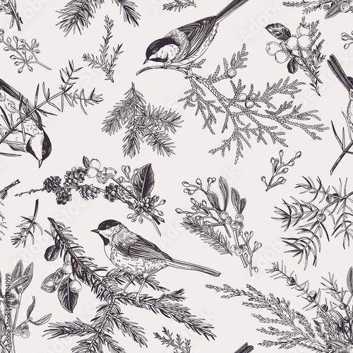 obraz lub plakat Vintage seamless pattern with birds.