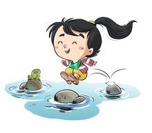 Little Girl Jumping Between Th...