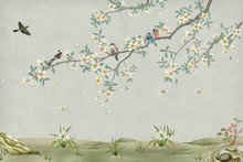 3d Marble Mural Background Light Simple Green Wallpaper . Birds In Branches Flowers Floral Background With Flowers And Herbs