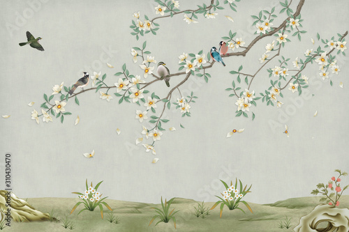 3d marble mural background light simple green wallpaper . birds in branches flowers floral background with flowers and herbs - 310430470