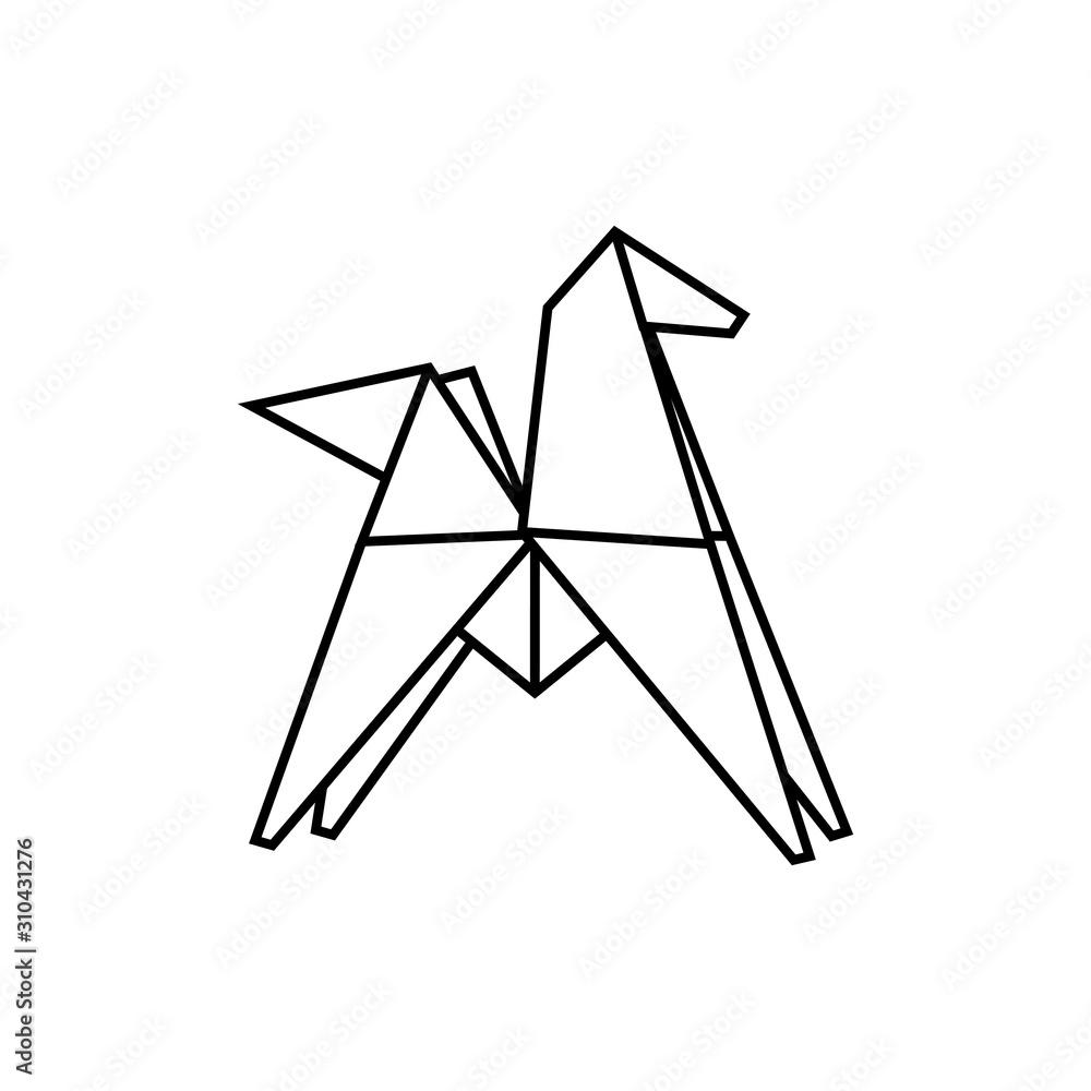 Fototapeta Pegaz origami logo wektor.