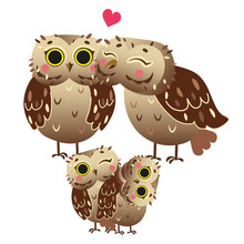 Cute Cartoon Owl Family Vector...
