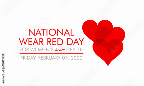 Obraz Vector illustration on the theme of National Wear Red day on February 7th. - fototapety do salonu