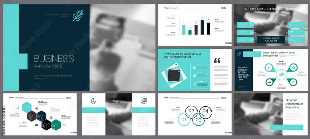 Fototapeta Black, white, blue and grey infographic design elements for presentation slide templates. Business and production concept can be used for annual report, brochure layout, banner design