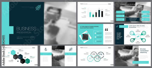Obraz na plátne  Black, white, blue and grey infographic design elements for presentation slide templates