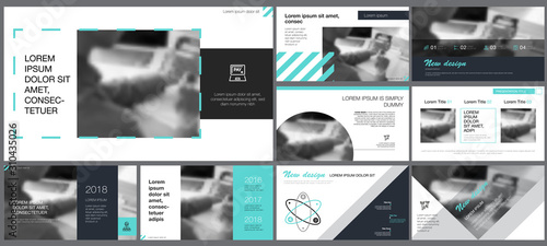 Blue, grey, black and white infographic design elements for presentation slide templates Tablou Canvas