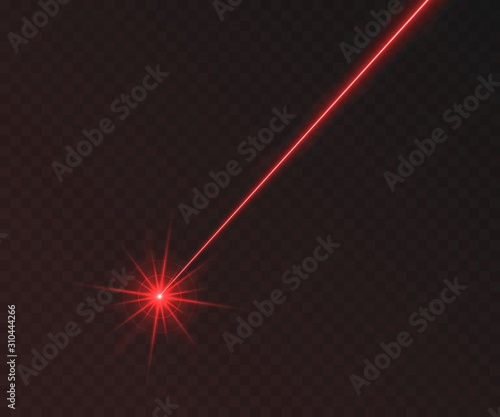 Photo Red laser beam light effect isolated on transparent background