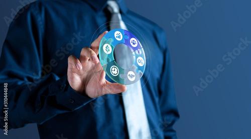 Fototapeta Businessman show management 3d circle icon of business obraz na płótnie