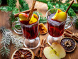 Christmas mulled wine. New year background. Fresh drink.