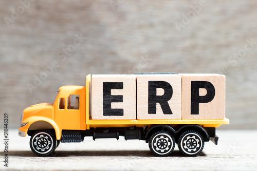 Truck hold letter block in word ERP (Abbreviation of Enterprise Resource Plannin Canvas Print