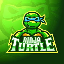 Stock Vector Ninja Turtle Mascot Logo. Badge, Esport Logo, And Emblem With Modern Illustration Concept Style.