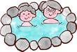 老夫婦、温泉に入る