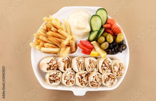 Fototapeta shawarma meal two tortilla sandwich obraz