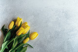 Fototapeta Tulipany - A bouquet of yellow tulips on a light background. Spring flowers.