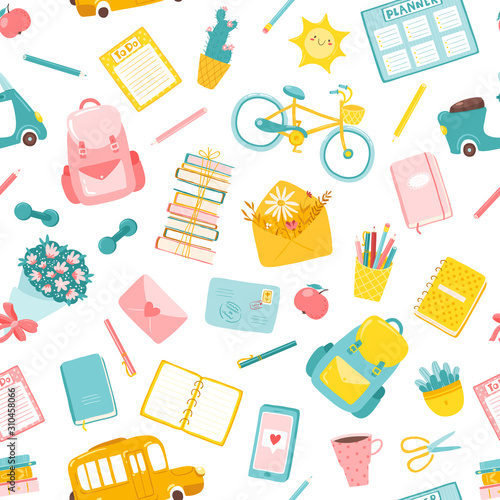 fototapeta na ścianę Back to school in a childish cartoon style. Vector seamless pattern. Study. A variety of colorful illustrations ideal for printing on baby textiles, packaging, fabrics, etc.