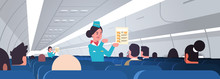 Stewardess Explaining For Passengers Instructions Card Female Flight Attendants Safety Demonstration Concept Modern Airplane Board Interior Horizontal Portrait Vector Illustration